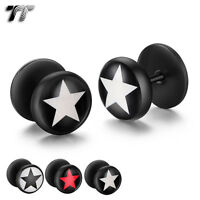 TT Clear Epoxy Black Stainless Steel Star Fake Ear Plug Earrings (BD27) NEW