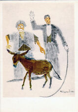 RARE 1974 Russian postcard CLOWN RIDING-MASTER AND DONKEY by F.Bogorodsky
