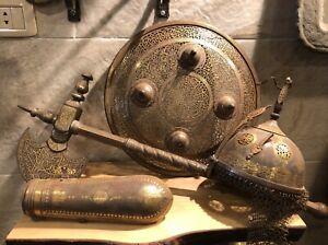 Antique Islamic warrior Suit of Armor  Helmet - Shield -  Battle Axe -Arm Guard