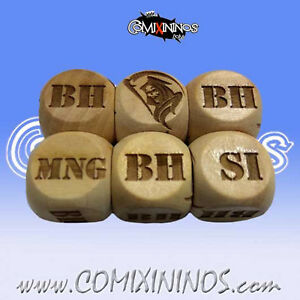 Fantasy Football - 1d6 INJURY DICE WOODEN for Blood Bowl 16mm - Meiko Miniatures