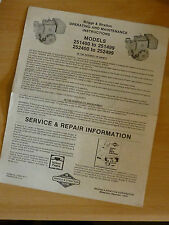 BRIGGS & STRATTON 10HP 11HP OPERATING INSTRUCTIONS (251400-251499 252400-252499)