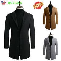 Mens Wool Coat Winter Trench Coats Outwear Overcoat Button Coat Slim Warm Jacket