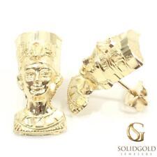 New 10K Yellow Gold 19 Mm Long Nefertiti Queen Stud Earrings 7198