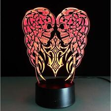 3D Led illusion Creative Two Skulls Touch Night Light 7Color Desk Table Lamp