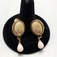 Clip On Earrings Vintage Pink Drop Pearl Gold Tone Floral Enamel Victorian
