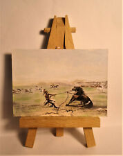 Catching wild Horses ACEO Original PAINTING by Ray Dicken a George Catlin