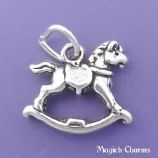 925 Sterling Silver 3-D ROCKING HORSE Toy Charm Pendant - lp2302