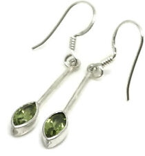 Peridot marquise drop earrings, solid Sterling Silver, New, UK seller 🇬🇧
