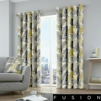 Fusion TROPICAL Leaves Yellow & Grey Eyelet Curtains & Cushions