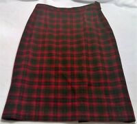 Pendleton women's 16 red plaid skirt wool zipper long work career