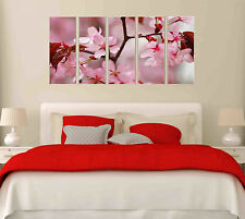 5 Panel Pink Spring Flower Canvas Wall Art Picture Home Office Decor Framed