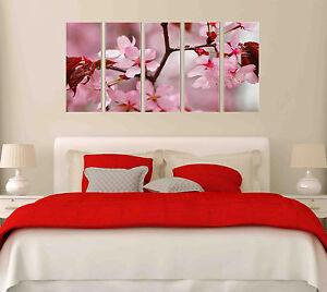 Pink Sakura Spring Blossoms Flower Photo on Canvas Print 5 Piece Wall Art Framed