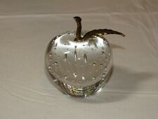 Vintage Glass Paperweight Apple With Brass Stem teacher ~