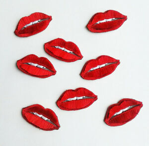 Hot Lips with Tongue White Teeth Handmade Embroidered Patch