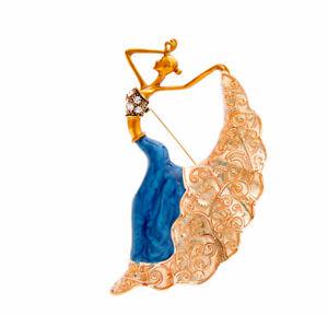 Emaillierte Brosche Mädchen - Tänzerin. Gold Farbe.