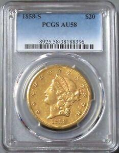1858 S GOLD USA $20 DOLLAR LIBERTY HEAD DOUBLE EAGLE PCGS AU 58
