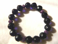 Deep Purple & Lilac Faceted Glass Crystal Bead Bracelet - Handmade - BN