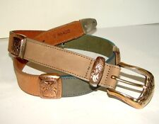 BRIGHTON Belt Multi Color Leather Gold Silver Ladies Size S