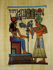 "Original Hand Painted Papyrus 8""X12"" (20x30cm) Ramses Offering Flowers Pharaoh"