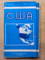 USA United States Reference Map Russian Soviet Wall Atlas Brochure Cartography