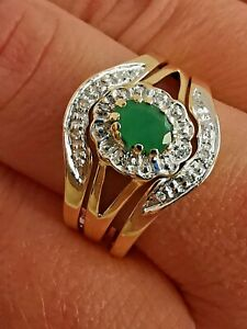 9ct 375 YELLOW GOLD EMERALD DIAMOND 3 RING SET engagement wedding eternity stack