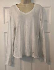 New Dunnes Store White Cotton V Neck Long Sleeve Plus Size Top U.K. 20 DM79