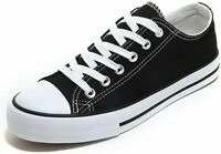 Womens Canvas Low-top Sneakers Women Fashion Lace-up Classic Shoes(Black,Size:7)