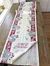 UNUSED Vintage Retro Tea Dish Towel Fabric Yardage Flowers Red Stripes 16X136