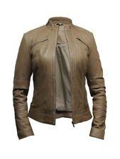 Manteaux et vestes motards marron en cuir pour femme