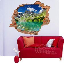 3D Wandbild |BACH BERG| Aufkleber Wandtattoo Mauerdurchbruch Sticker Deko
