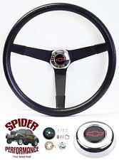 """1969-1974 Bel Air Caprice Impala steering wheel Red Bowtie 14 3/4"""" Vintage Black"""