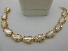 Gorgeous Heavy 14k Solid Yellow Gold Large Baroque Pearl & Diamond Bracelet