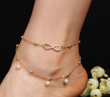 Infinity Anklet Gold Metal Gorgeous Pretty Ankle Jewellery New