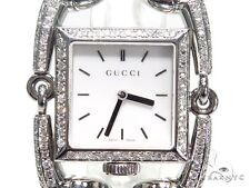 Ladies Women Diamond Gucci Watch Round Cut G Color Pave 3.20ct