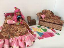 Barbie Or Ever After High.furniture Bedroom Set:Bed,sofa,lamp:Ginger Bread house