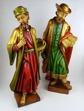 Religiöse Holzfiguren 56cm Hl. Kosmas u. Hl. Damian, Holz geschnitzt