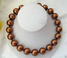 Rare Huge 12mm Genuine South Sea Coffee Shell Pearl Round Beads Necklace 18''