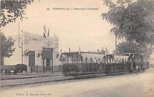 CPA TUNISIE FERRYVILLE GARE AVEC TRAMWAY (GROS PLAN