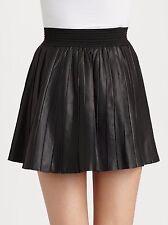 Parker Xs Pleated School Girl Black Genuine Leather Skirt