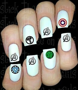 Avengers logo Stickers autocollant ongles manucure nail art water decal déco