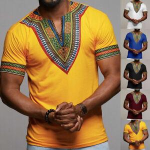 Men's African Dashiki Print T Shirt Short Sleeve Casual Loose Top Blouse Tee New
