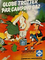 PUBLICITÉ DE PRESSE 1979 GLOBE TROTTER PAR CAMPING GAZ - LUCKY LUKE
