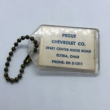 Vtg Prout Chevrolet Dealer Advertising 64 Chevy Lot Car Keychain - Elyria Ohio