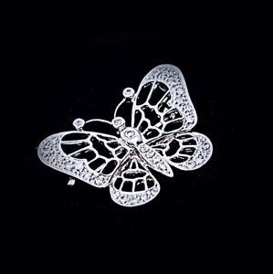 Vintage Estate 14K White Gold & Diamonds Brooch / Pendant