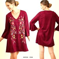 Umgee Dress Size XL S M L Embroidered Floral Red Bell Sleeve Tunic Womens New