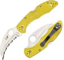 "Spyderco Tasman Salt 2 Knife 2.8"" H-1 Steel Hawkbill Blade Yellow FRN Handle"