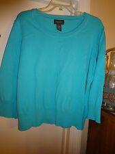 Van Heusen Teal 3/4 Sleeve Scoop Neck Sweater Cotton Nylon Size XL