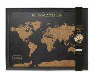 Framed Large Travel Board World Map with Marker Pins Dark Brown Colour