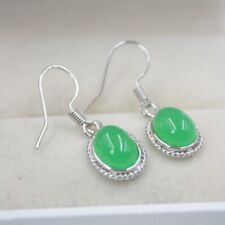 18K GP Hook with Green Jade Oval Charm 26mm H Dangle Earrings