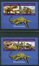 Central African Republic 2017 MNH Dinosaurs 2x 2v M/S T-Rex Triceratops Stamps